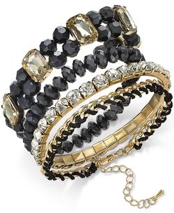 Thalia Sodi - Gold-Tone Crystal And Stone Stack Style Stretch Bracelet