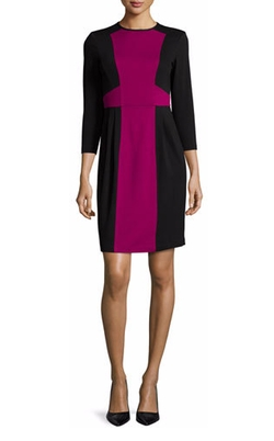 Nanette Lepore - 3/4-Sleeve Colorblock Sheath Dress