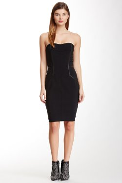 Yigal Azrouel  - Strapless Sweetheart Leather Trim Dress
