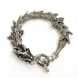 Ovalbuy - Silver-Tone Alloy Metal Dragon Bracelet