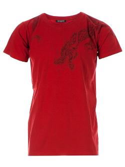 BALMAIN  - dragon print t-shirt