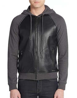 Michael Kors - Leather-Front Hoodie Jacket