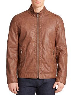 Guess - Faux Leather Bomber Jacket