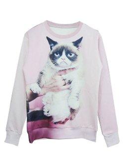 Persun  - Women Pink Grumpy Cat Print Sweatshirt