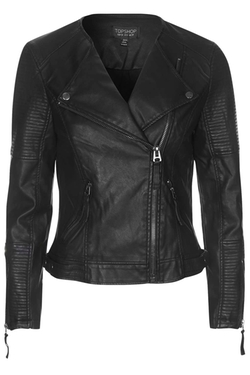 Topshop - Faux Leather Quilted Detail Biker Jacket