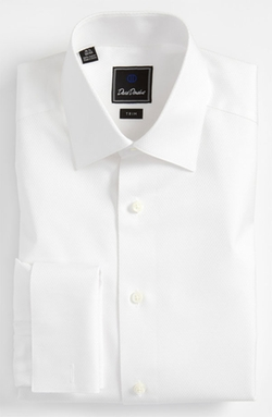 David Donahue - Trim Fit Solid French Cuff Tuxedo Shirt