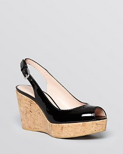 Stuart Weitzman - Peep Toe Platform Wedge Sandals