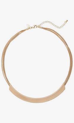Express - Curved Bar Collar Necklace With Snake Chain