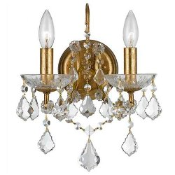 Shades of Light - Gold Leaf and Crystal Wall Sconce