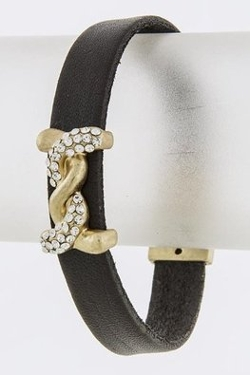 Baubles & Co - Crossover Metal Accent Leather Bracelet