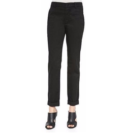 Vince - Cuffed Twill Boyfriend Trousers