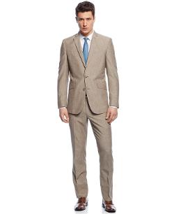 KENNETH COLE REACTION  - Suit Tan Stripe Slim Fit