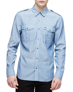 Burberry Brit - Solid Long-Sleeve Military Shirt