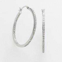 Diamond Mystique - Platinum Over Silver Diamond Accent Hoop Earrings