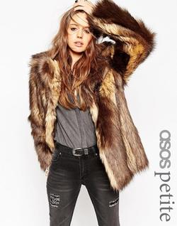 Asos Petite - Vintage Faux Fur Coat