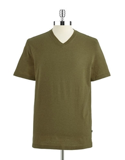 Black Brown 1826 - Solid V Neck Short Sleeved Shirt