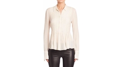 Theory - Dionelle Pleated Silk Blouse
