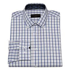 CALABRUM - Classic-Fit Windowpane Easy-Care Button-Down Collar Dress Shirt