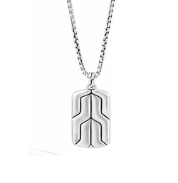 John Hardy - Silver Box Chain Dog Tag Necklace