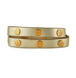 Tory Burch - Leather Logo-Stud Double-Wrap Bracelet