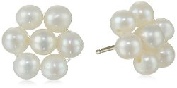 Bella Pearl  - Flower Freshwater Pearl Stud Earrings