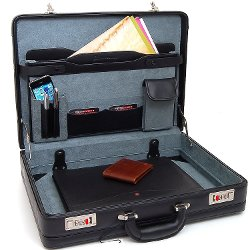 Alpine Swiss - Expandable Leather Attache Briefcase