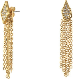 Rebecca Minkoff - Diamond Pave Fringe Front to Back Earrings