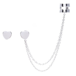 Beaux Bijoux - Sterling Silver Heart Single Stud And Ear Cuff Earrings