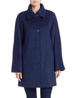 Ellen Tracy - Single-Breasted Wool-Blend Coat