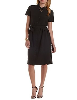 Charlotte Russe - Belted Midi Shirt Dress