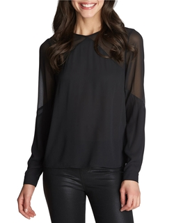 1 State - Sheer Yoke Blouse