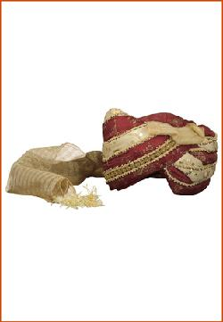 utsavfashion - Maroon and Cream Art Silk and Shimmer Net Turban
