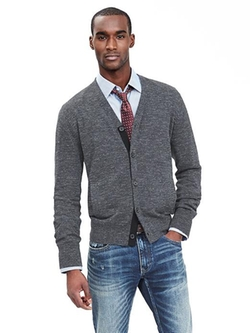 Banana-Republic - Textured Gray Cardigan