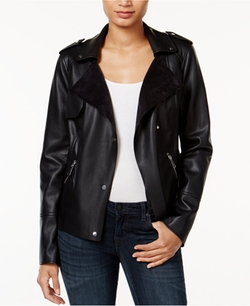 Bar III  - Faux-Leather Trench Moto Jacket
