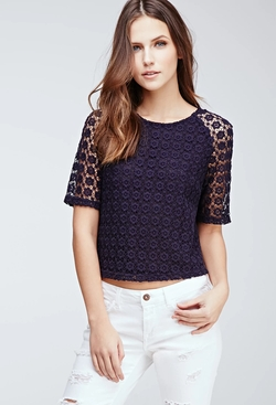 Forever21 - Boxy Floral-Crochet Top