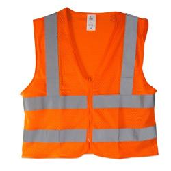 Neiko  - High Visibility Neon Orange Zipper Front Safety Vest