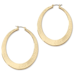 Liz Claiborne - Textured Gold-Tone Hoop Earrings