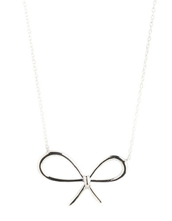 Lord & Taylor  - Sterling Silver Open Bow Necklace