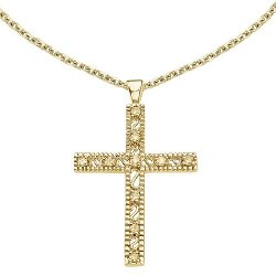 14k Co.  - Diamond Cross Pendant with Chain Necklace