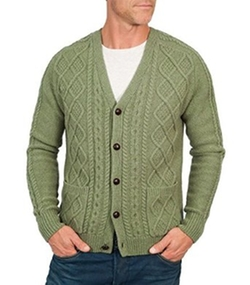 Wool Over - Lambswool Cable V Neck Cardigan