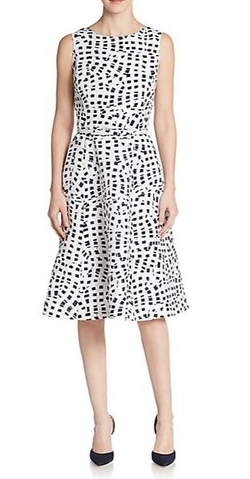 Oscar De La Renta  - Printed Fit & Flare Dress