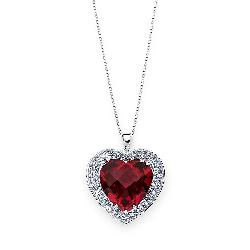 Pretty in Pave™ - Sterling Silver Lab Created Ruby Heart Pendant