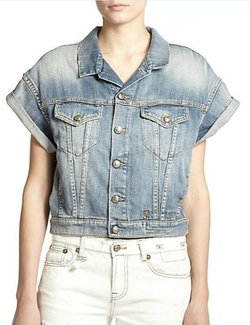 R13 - Denim Roll-Sleeve Vest