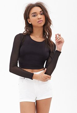 Forever21 - Mesh-Paneled Crop Top