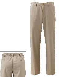 Croft & Barrow -  Easy Care Half-Elastic Khaki Flat-Front Pants