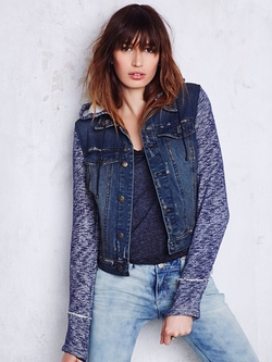 Free People - Knit Hooded Denim Jacket
