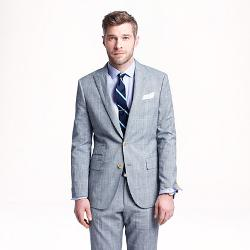 J. CREW - LUDLOW SUIT JACKET IN GLEN PLAID ITALIAN WOOL-LINEN