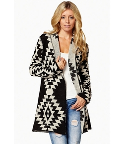 Elan - Tribal Diamond Cardigan Sweater