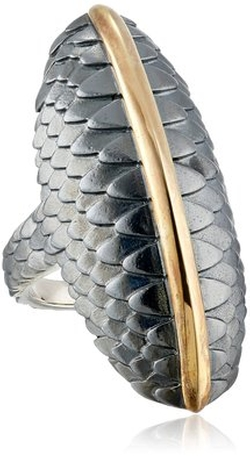"Elizabeth and James - ""Audubon"" Gold Feather North and South Ring"
