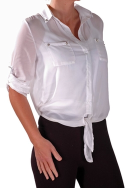 Eye Catch  - Womens Tie Waist Blouse Shirt Ladies Top
